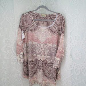 One world Tan and Rose color Blouse
